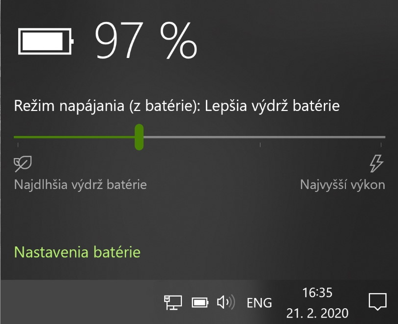 Nastavenia batérie Windows 10
