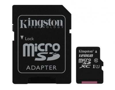 KINGSTON 128GB microSDXC class10 s adaptérom